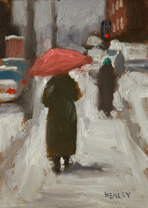"SOLD ""Pink Umbrella"" by Paul Healey 5 x 7 - oil $275 Unframed $450 in show frame"