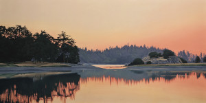 "SOLD ""Piper's Lagoon Sundown,"" by Ron Parker 20 x 40 – oil $4200 Unframed"