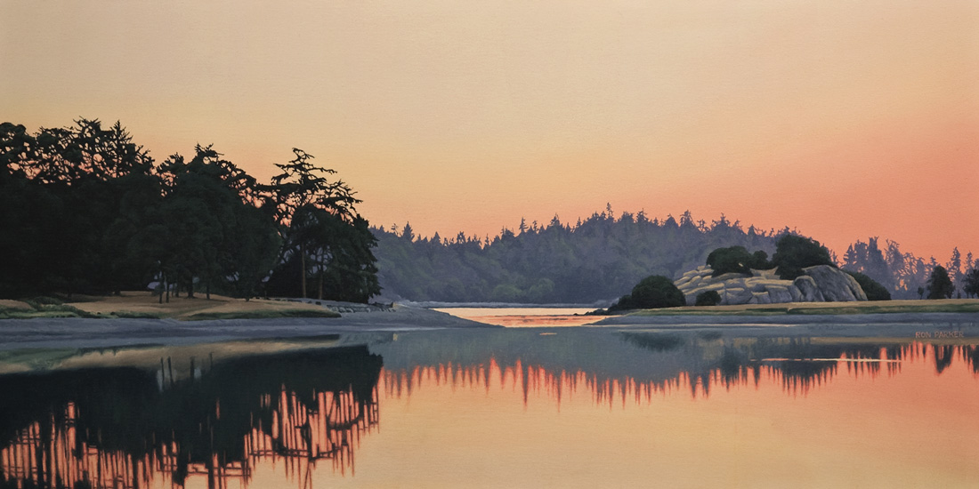 SOLD ``Piper's Lagoon Sundown,`` by Ron Parker 20 x 40 - oil $4200 Unframed