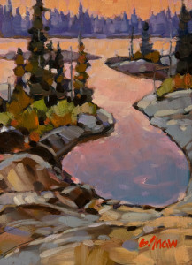 "SOLD ""Pocket Bay, N.W.T."" by Graeme Shaw 5 x 7 - oil $390 Unframed $560 in show frame"