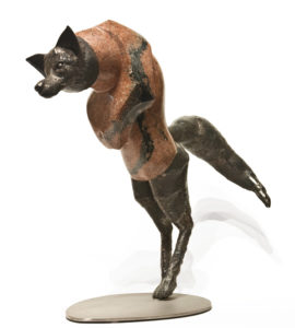 """Pounce,"" by Tobias Luttmer 23"" (H) - granite and stainless steel $4400"