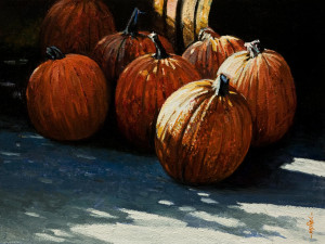 "SOLD ""Pumpkins Seven"" by Alan Wylie 9 x 12 - oil $1540 Unframed $1760 in show frame"