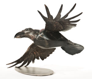 "SOLD ""Raven in Flight,"" by Tobias Luttmer 15"" (H) x 17"" (L) x 24"" (W) - granite and stainless steel $4350"