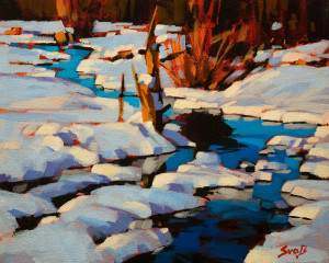 "SOLD ""A Reflective Contrast"" by Mike Svob 8 x 10 - acrylic $670 Unframed $865 in show frame"