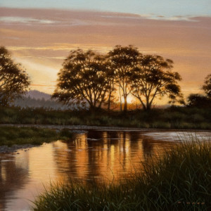 "SOLD ""River at Dawn"" by Ray Ward 10 x 10 - oil $850 Unframed $1070 in show frame"