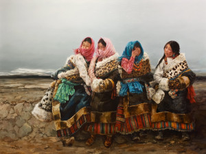 """Roadside Chat,"" by Donna Zhang 36 x 48 - oil $9500 Unframed"