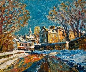 "SOLD ""Rue de Remparts, Vieux, Quebec,"" by Raynald Leclerc 20 x 24 – oil $2300 Unframed"