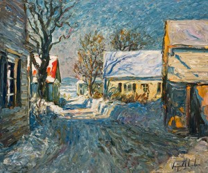"SOLD ""La Rue Enneigee, St. Michel,"" by Raynald Leclerc 20 x 24 – oil $2500 Unframed"