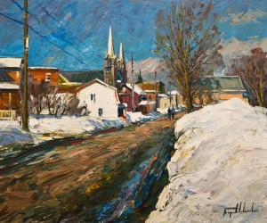 "SOLD ""Rue St. Anne, Baie St. Paul, Charlevoix,"" by Raynald Leclerc 20 x 24 – oil $2300 Unframed"
