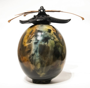 "SOLD Vase (182) by Geoff Searle pit-fired pottery - 12"" (H) $600"