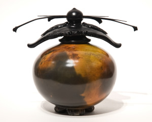 """SOLD Vase (193) by Geoff Searle pit-fired pottery – 6 1/2"""" (H) x 5 1/2"""" (W) $385"""