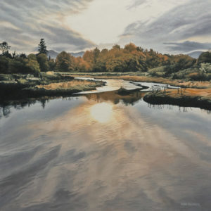 "SOLD ""Setting Sun,"" by Ron Parker 20 x 20 - oil $2400 Unframed"