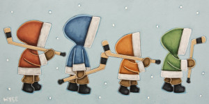 """""""The Shinny Boys,"""" by Peter Wyse 8 x 16 - acrylic $840 (unframed panel with 1 1/2"""" edging)"""