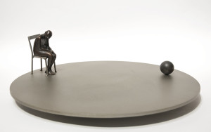 "SOLD ""Small World,"" by Janis Woode bronze and lacquered steel – 6""(H) x 18"" (diameter) $4100"