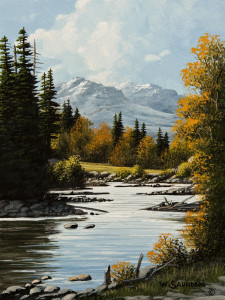 "SOLD ""Snow Capped Mountains"" by Bill Saunders 6 x 8 - acrylic $500 Unframed $685 in show frame"