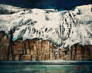 "SOLD ""Snow Cliff,"" by Min Ma 8 x 10 – acrylic $845 Unframed"