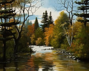 "SOLD ""Stream in September"" by Bill Saunders 8 x 10 - acrylic $650 Unframed $850 in show frame"