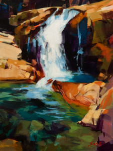 "SOLD ""Summer Grotto, Alouette River,"" by Mike Svob 12 x 16 - acrylic $1345 Unframed"