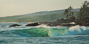 "SOLD ""Summer Surf,"" by Ron Parker 18 x 36 – oil $4000 Unframed"