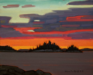 "SOLD ""Sundown, B.C. Coast"" by Nicholas Bott 8 x 10 - oil $1040 Unframed $1240 in show frame"