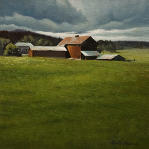 """Sunlit Barn,"" by Keith Hiscock 8 x 8 - oil $775 Unframed"