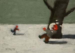 "SOLD ""Surprise!"" by Paul Healey 5 x 7 - oil $275 Unframed $450 in show frame"