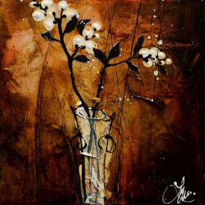 "SOLD ""Tiny Snowdrops"" by Laura Harris 6 x 6 - acrylic $600 Unframed $725 in show frame"