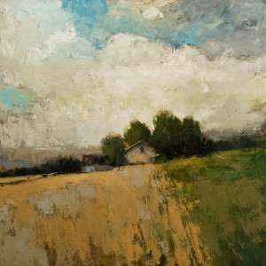 "SOLD ""Turbulence Estivale,"" by Robert P. Roy (Summer Turbulence) 48 x 48 – oil $3050 (thick canvas wrap without frame)"