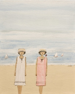 "SOLD ""Two Girls,"" by Louise Lauzon 8 x 10 – acrylic $375 Unframed"