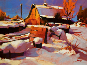 "SOLD ""Warm Light, Cold Day"" by Mike Svob 9 x 12 - acrylic $795 Unframed $1015 in show frame"