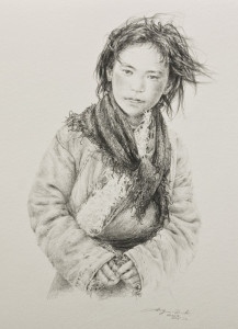 "SOLD ""Warm Wind"" by Donna Zhang 9 1/2 x 13 - drawing $1280 in show frame"