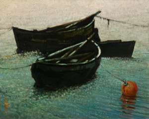 "SOLD ""Water Squatters"" by Alan Wylie 8 x 10 - oil $1350 Unframed $1525 in show frame"
