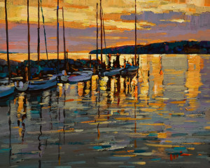 "SOLD ""White Rock Glow"" by Min Ma 8 x 10 - acrylic $770 Unframed $970 in show frame"