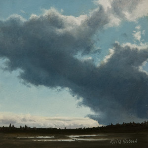 "SOLD ""Winter Cloud, Panama Flats,"" by Keith Hiscock 6 x 6 – oil $525 Unframed"