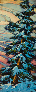 "SOLD ""Winter Sky,"" by David Langevin 5 1/2 x 14 – acrylic $815 Custom framed"