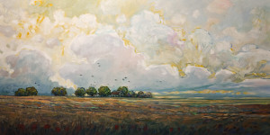 "SOLD ""Birds and Barns,"" by Steve Coffey 24 x 48 - oil $3140 in show frame $2590 Unframed"