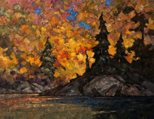 "SOLD ""A Canoe Route,"" by Phil Buytendorp 14 x 18 - oil $1415 in show frame $1165 Unframed"
