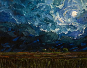 "SOLD ""Passing Midnight Rain,"" by Steve Coffey 11 x 14 - oil $1260 in show frame $1115 in standard frame $900 Unframed"