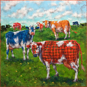 """Plaid Cow Disease - Grazing,"" by Angie Rees 20 x 20 - acrylic $1600 (unframed panel with 1 1/2"" edges)"