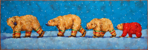 "SOLD ""The Polar Express,"" by Angie Rees 12 x 36 - acrylic $1925 (unframed panel with 1 1/2"" edges)"