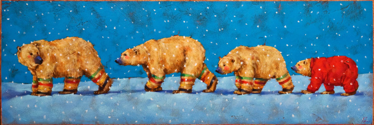 """""""The Polar Express,"""" by Angie Rees 12 x 36 - acrylic $1925 (unframed panel with 1 1/2"""" edges)"""