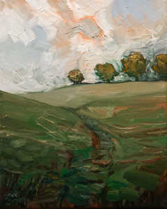 "SOLD ""Trail and Late Summer Trees,"" by Steve Coffey 8 x 10 - oil $800 in show frame $630 Unframed"