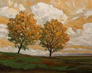 "SOLD ""Two Fall Trees,"" by Steve Coffey 11 x 14 - oil $1115 in show frame $900 Unframed"