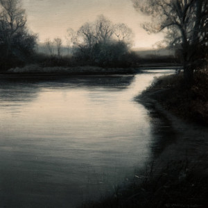 "SOLD ""Abating Flows,"" by Renato Muccillo 5 x 5 - oil on mounted panel $1190 in show frame"