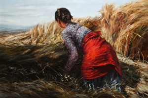 "SOLD ""Busy Harvest,"" by Donna Zhang 22 x 33 - oil $5650 in show frame $5200 Unframed"