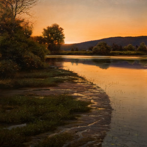 "SOLD ""Confluence at Dusk,"" by Renato Muccillo 24 x 24 - oil $4850 in show frame"