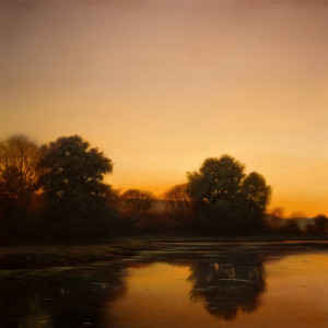 "SOLD ""Copper Horizon,"" by Renato Muccillo 24 x 24 - oil on birch panel $4570 in show frame"