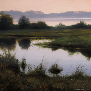 "SOLD ""Crescent Beach Lagoon,"" by Renato Muccillo 5 x 5 - oil on mylar $1150 in show frame"