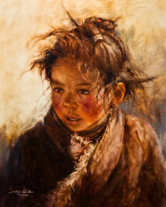 "SOLD ""Curious Moment,"" by Donna Zhang 24 x 30 - oil $6000 in show frame $5700 in standard frame $5200 Unframed"