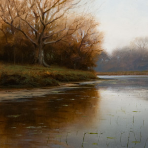 "SOLD ""Cut Banks in Autumn,"" by Renato Muccillo 8 x 8 - oil on mounted panel $1490 in show frame"